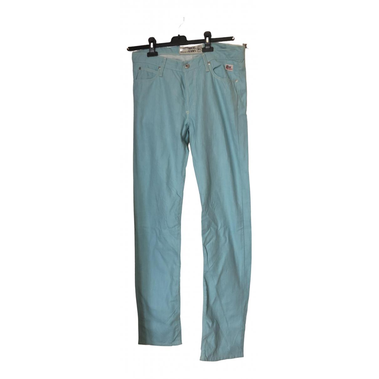Pantalon en Algodon Turquesa Roy Rogers