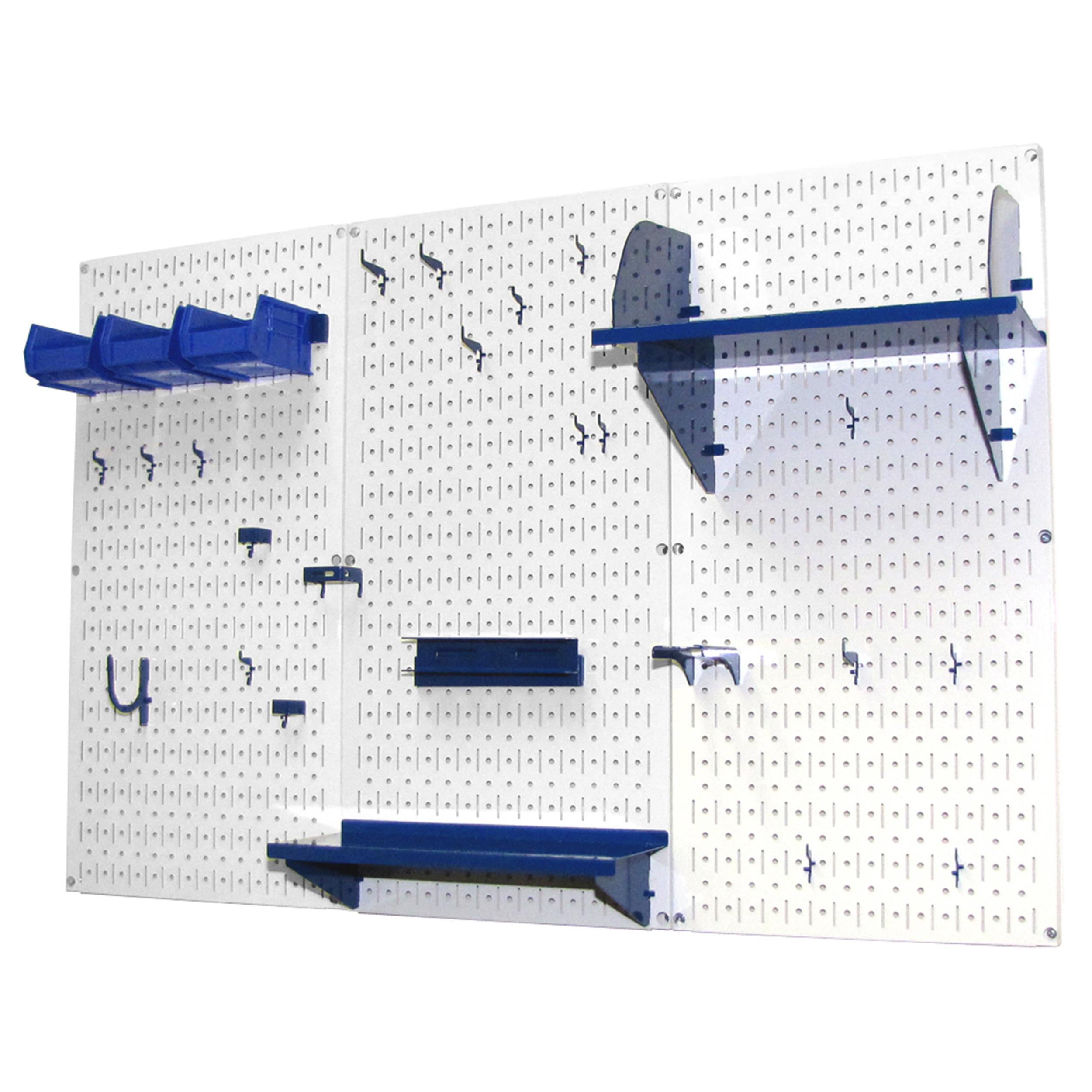 4' Metal Pegboard Standard Tool Storage Kit - White Toolboard & Blue Accessories