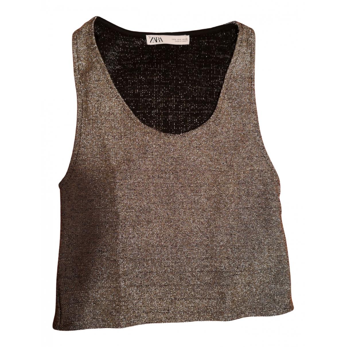 Zara - Top   pour femme en coton - dore