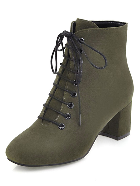 Milanoo Women Lace Up Ankle Boots Suede Square Toe Mid-low Block Heel Booties