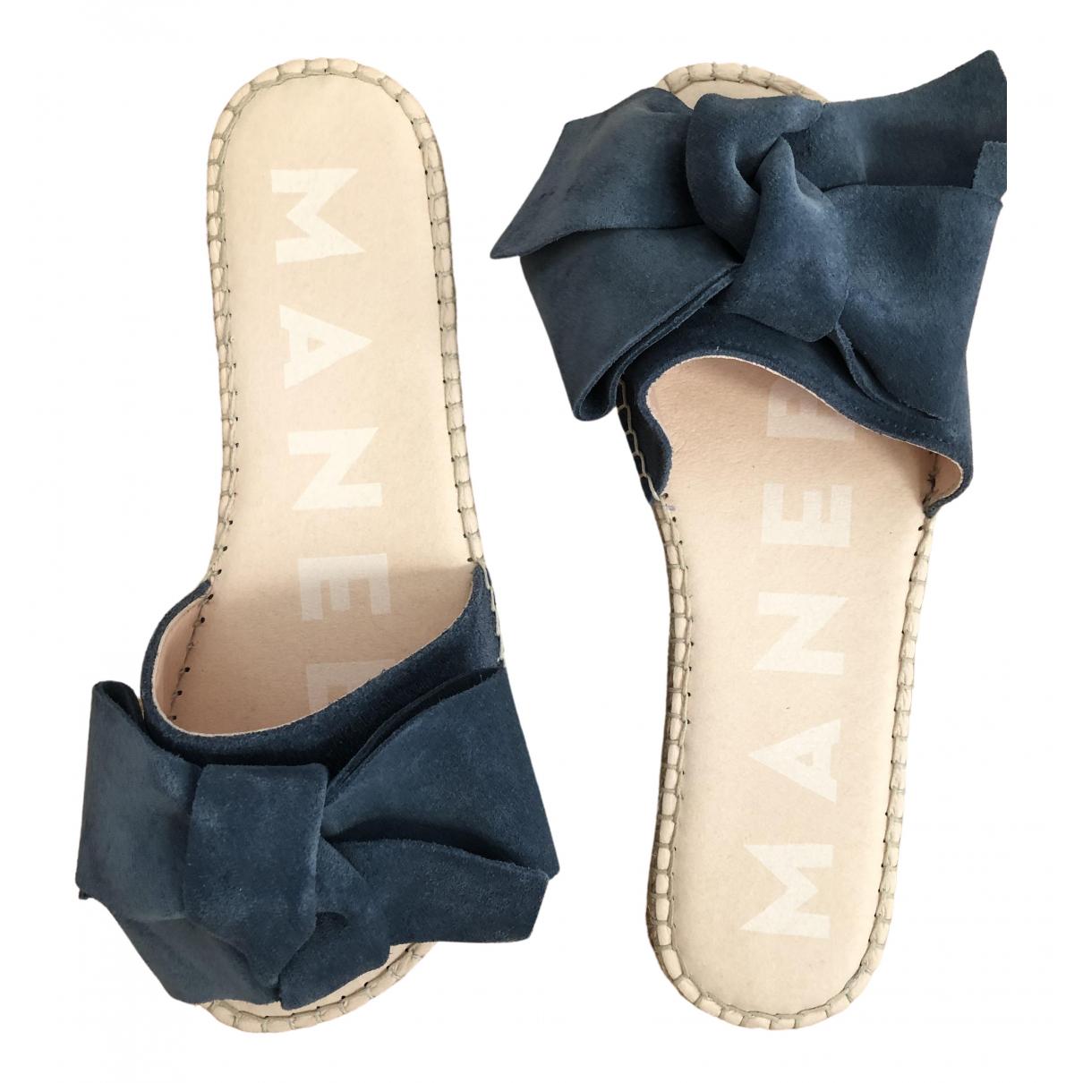 Manebi - Espadrilles   pour femme en suede - bleu