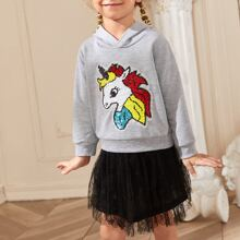 Toddler Girls Unicorn Reversible Sequin Patched Hoodie