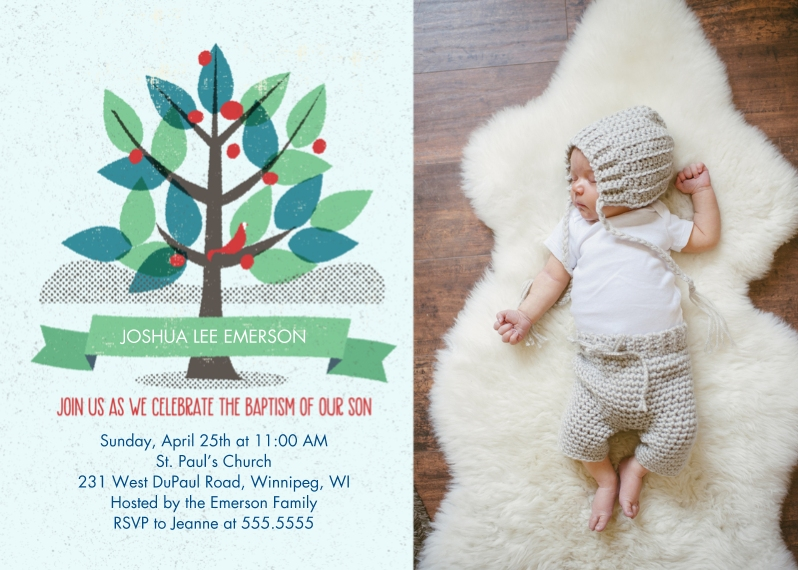 Baptism Invitations Flat Matte Photo Paper Cards with Envelopes, 5x7, Card & Stationery -Boy Baptism Tree