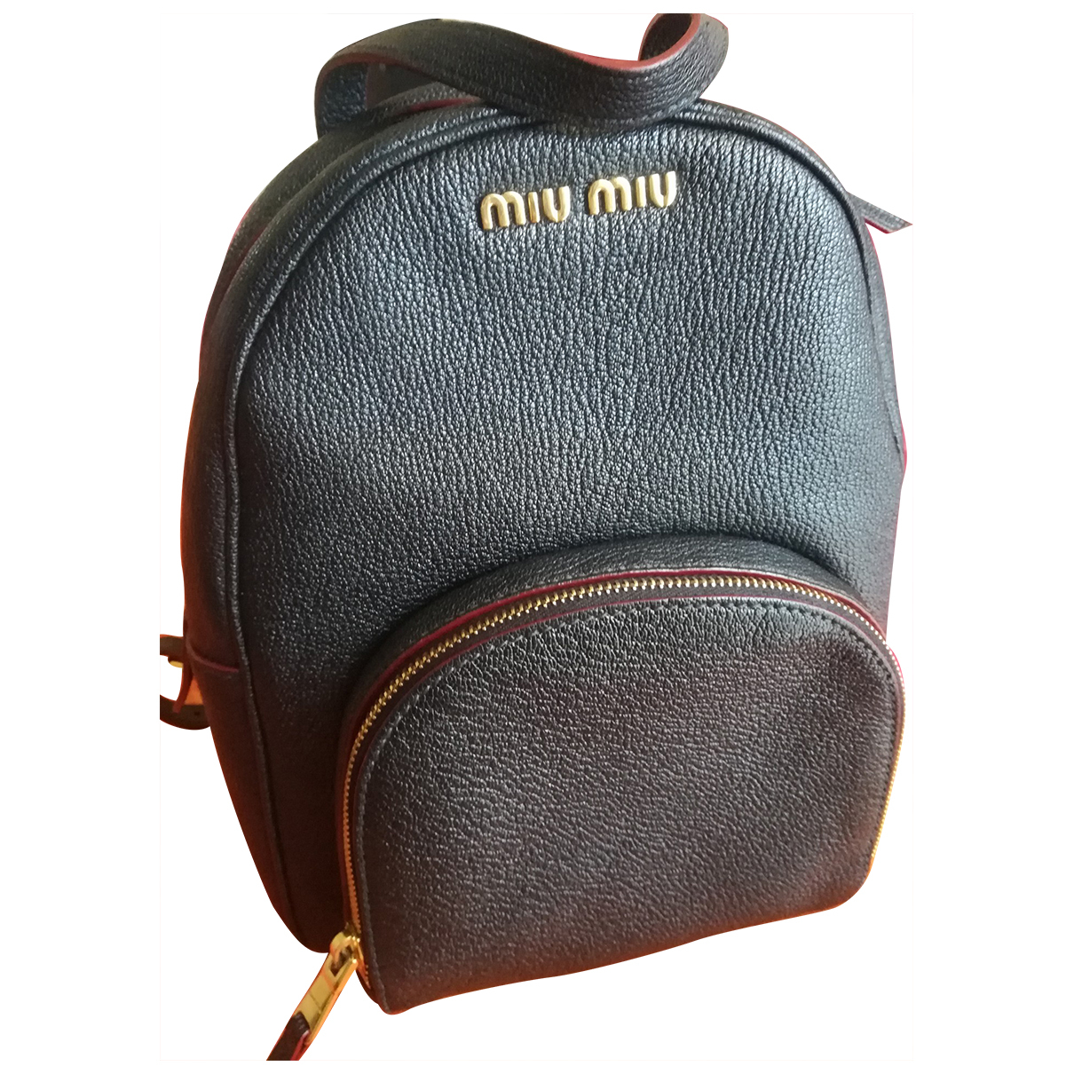 Miu Miu - Sac a dos   pour femme en cuir - noir