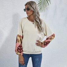 Sweatshirt mit Paisley Muster und Raglanaermeln