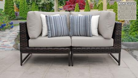 Barcelona Collection BARCELONA-02a-BRN-ASH 2-Piece Patio Wicker Loveseat with 2x Corner Chairs - Beige and Ash