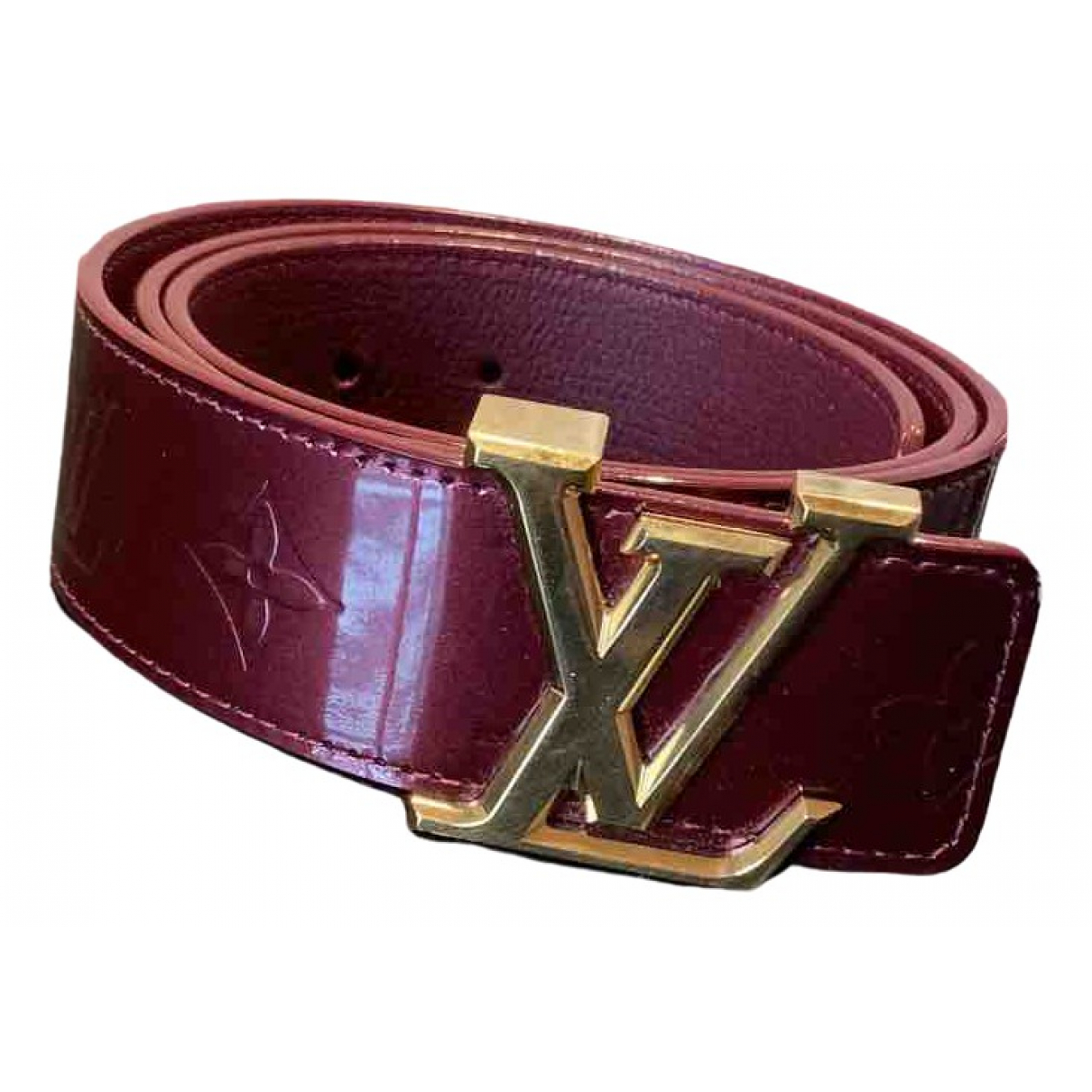 Louis Vuitton Initiales Burgundy Patent leather belt for Women 85 cm