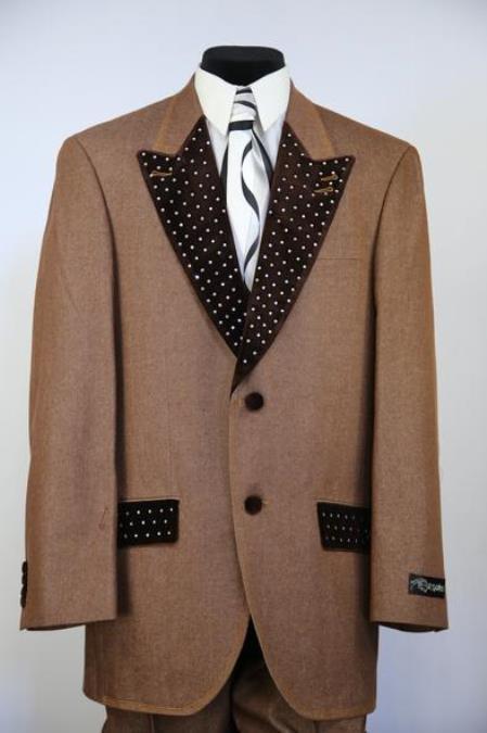 Mens Button Fastener Low Lapel Denim Rhinestone Zoot Suit
