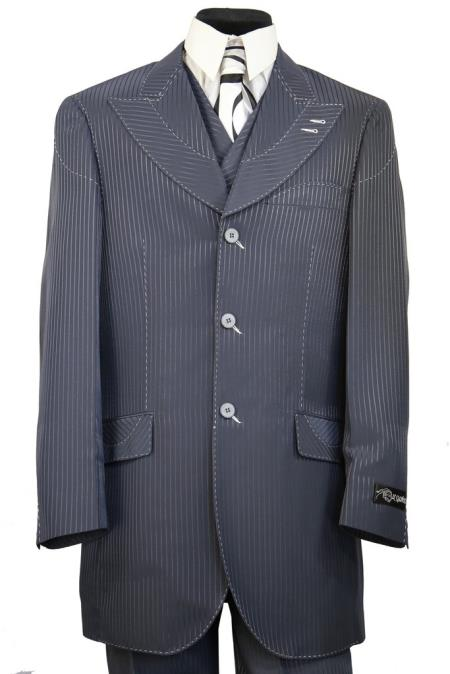Mens Designer Arc Lapel Striped Indigo Shirt and Pants