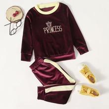 Samt Sweatshirt & Jogginghose mit Buchstaben und Krone Stickereien
