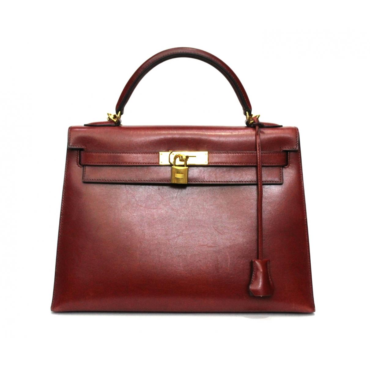 Herm�s Kelly 32 Burgundy Leather handbag for Women \N