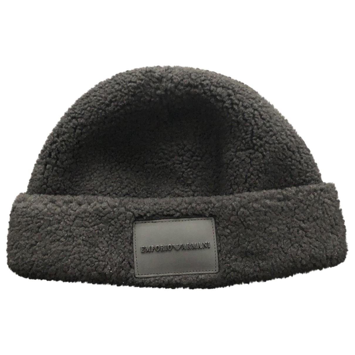 Emporio Armani - Chapeau & Bonnets   pour homme en laine - noir