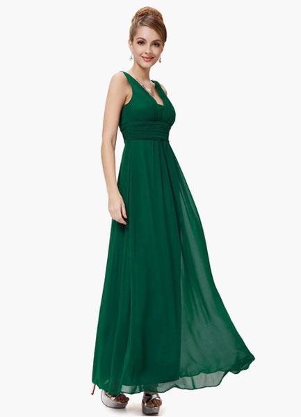 Milanoo Green V-neck Peplum Chiffon Bridesmaid Dress for Woman