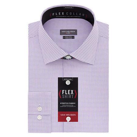 Van Heusen Flex Collar Extra Slim Stretch Long Sleeve Dress Shirt, 16.5 34-35, Purple