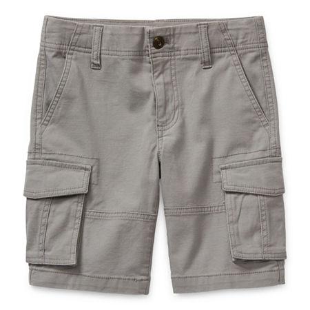 Arizona Little & Big Boys Adjustable Waist Cargo Short, 8 Husky , Gray