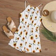 Sunflower Print Cami Romper
