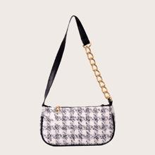 Plaid Chain Baguette Bag