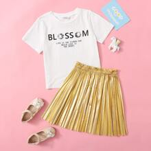 Girls Slogan Graphic Top & Pleated Skirt Set