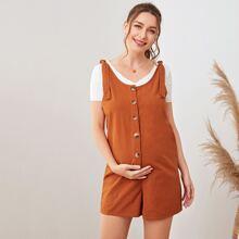 Maternity Overall Shorts mit Knoten auf Schulter und Knopfen vorn