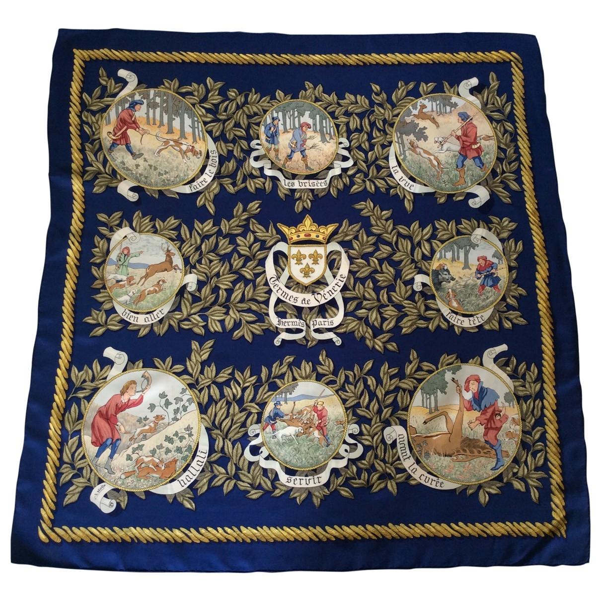 Hermes - Foulard   pour femme en soie - bleu