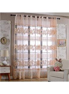 Cute Pink Full-Bloom Lily Printing Custom Sheer Curtain