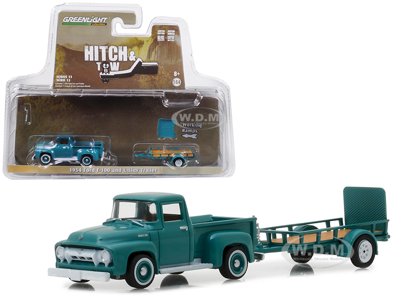 1954 Ford F-100 and Utility Trailer Green Hitch & Tow Series 13 1/64 Diecast Model Car by Greenlight