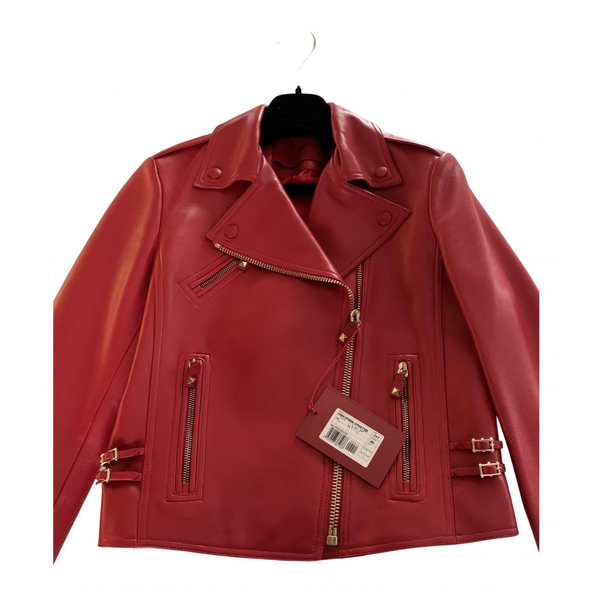 Valentino Garavani - Veste   pour femme en cuir - rouge