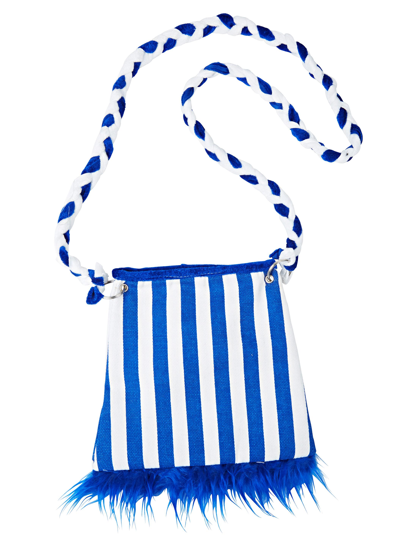 Kostuemzubehor Tasche Pluesch blau/weiss