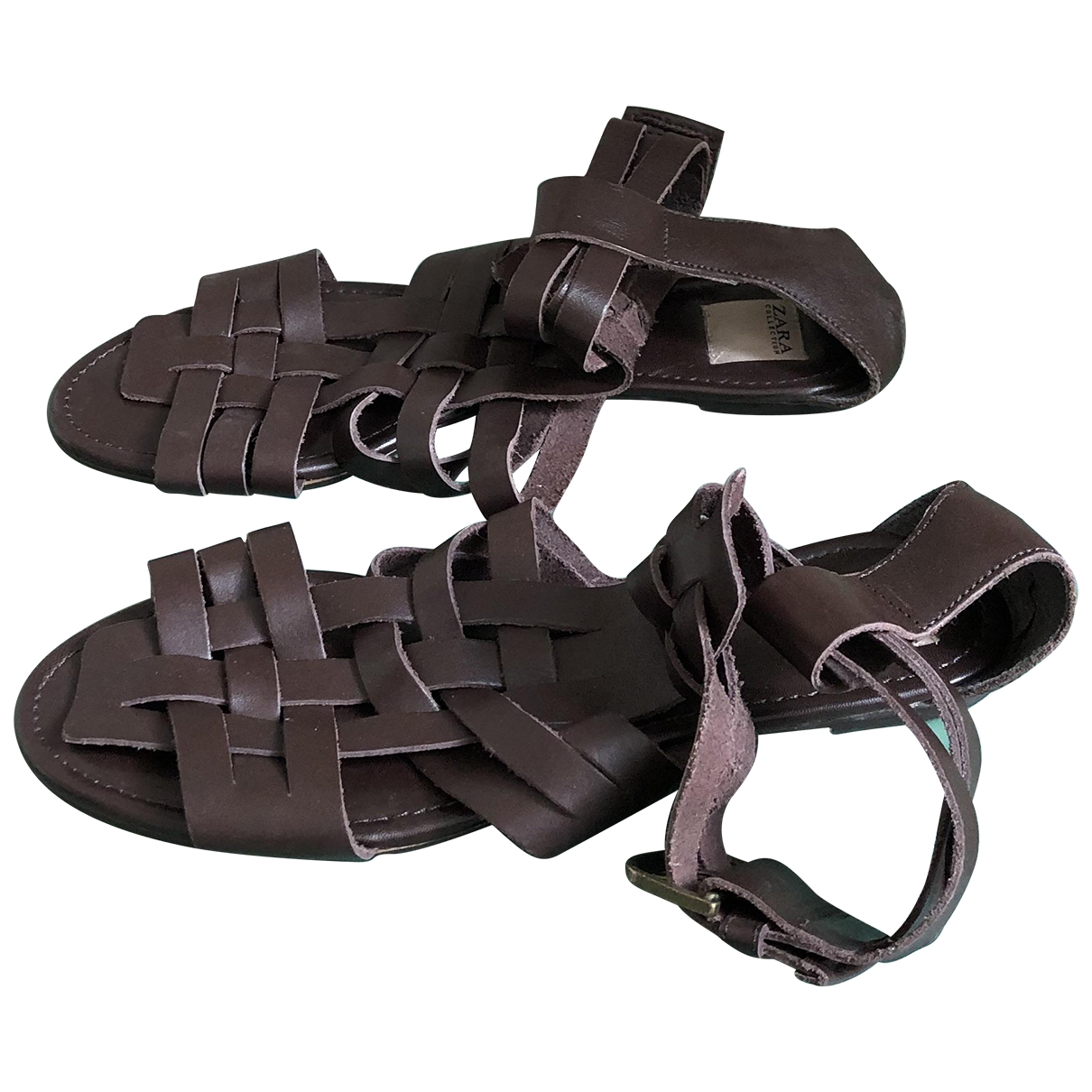 Zara \N Brown Leather Sandals for Women 40 EU