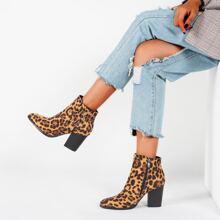 Botas con tacon grueso de leopardo