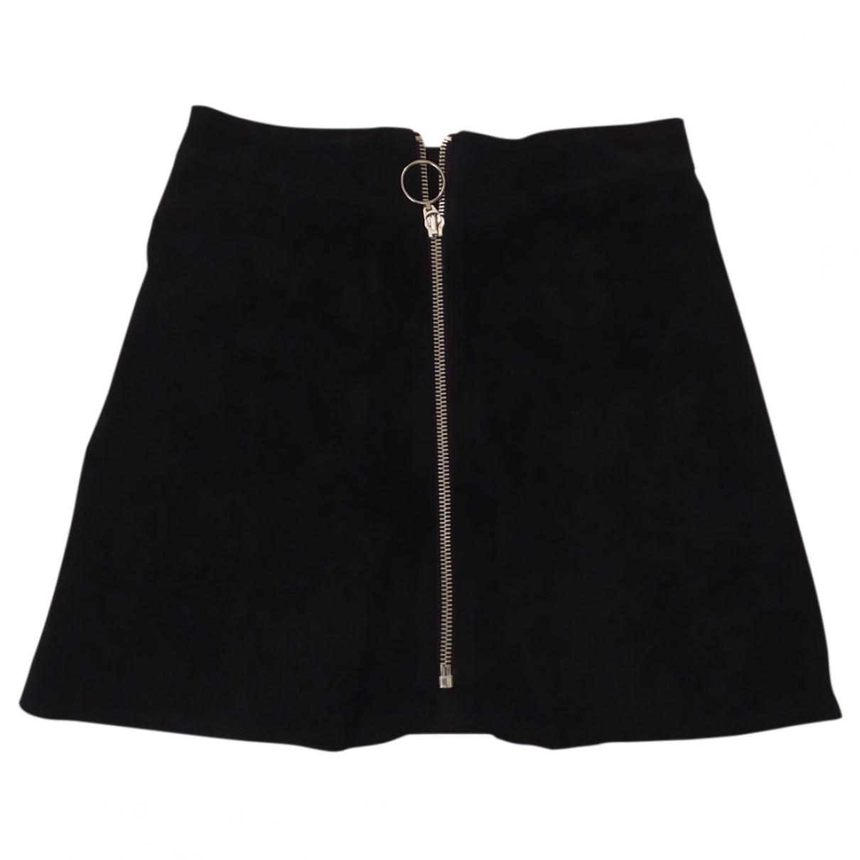 Zara - Jupe   pour femme en suede - noir