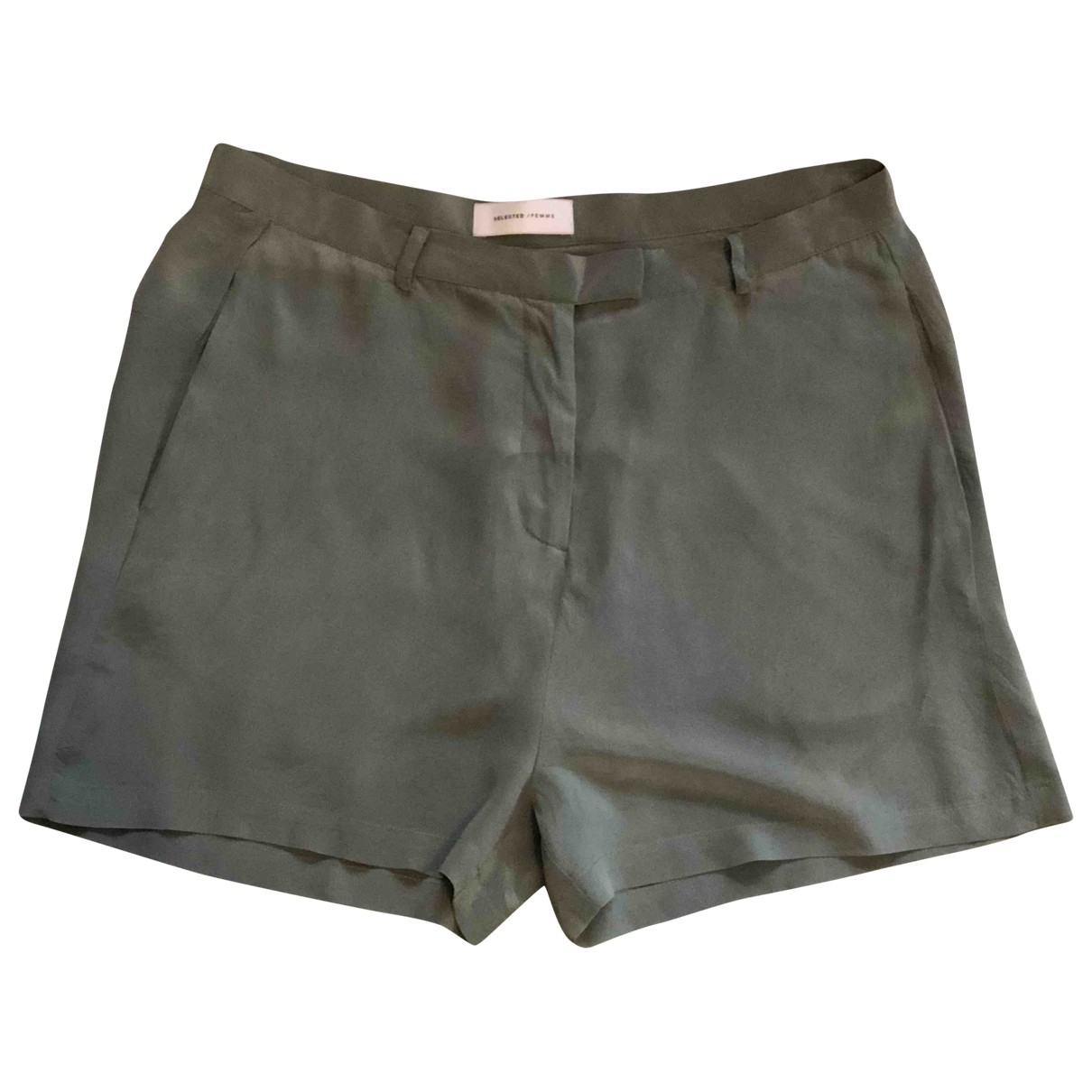 Selected \N Green Silk Shorts for Women 12 UK