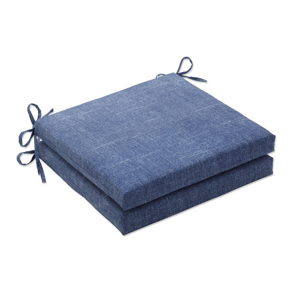 Pillow Perfect Outdoor | Indoor Tory Denim Squared Corners Seat Cushion (Set of 2) 20 X 20 X 3 (Blue)