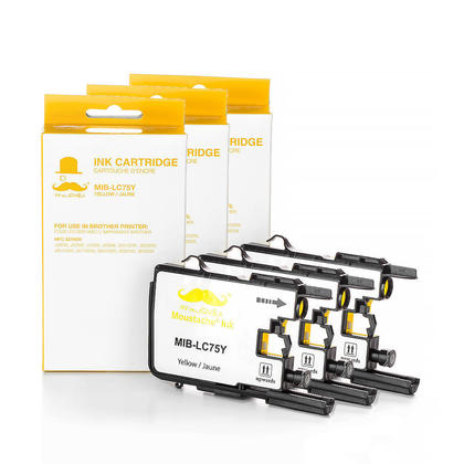Compatible Brother LC75Y - LC75 Yellow Ink Cartridge by Moustache, 3 Pack - High Yield