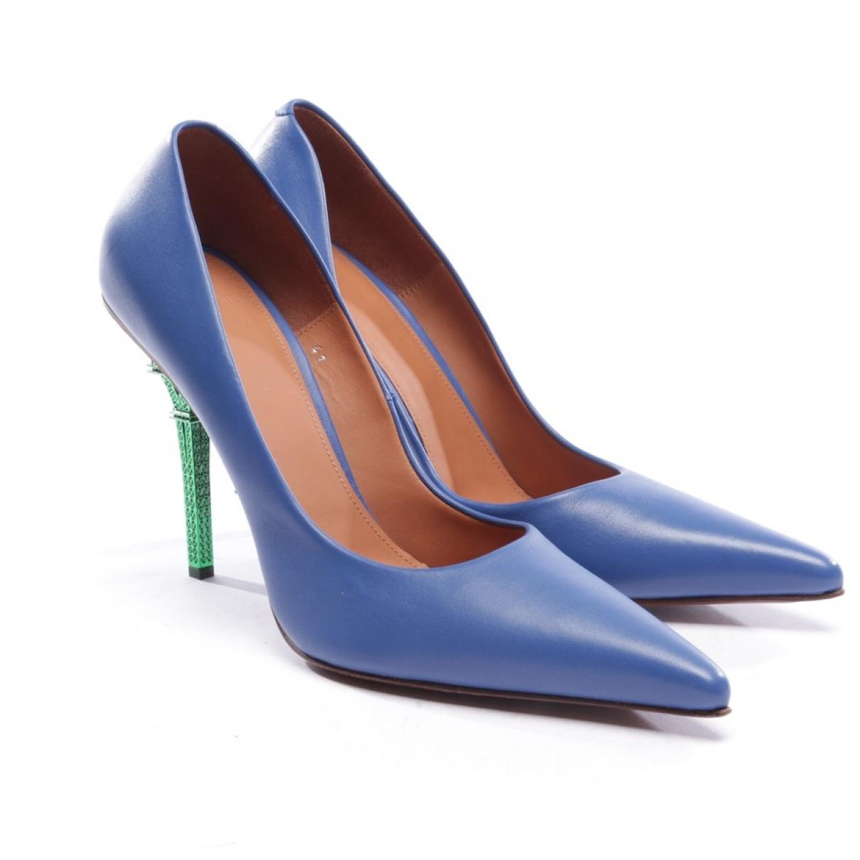 Vetements - Escarpins   pour femme en cuir - bleu