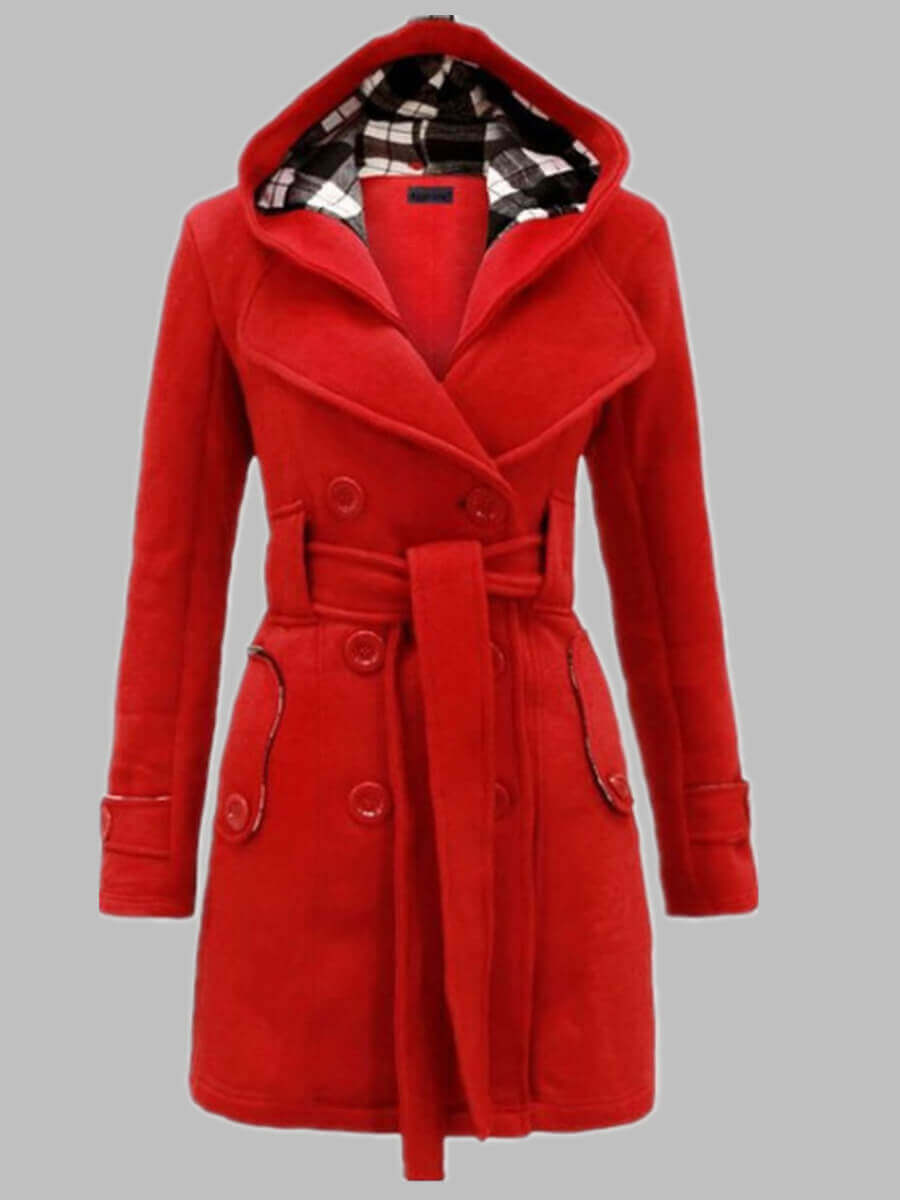 LW Lovely Casual Hooded Collar Knot Design Wine Red Trench Coat