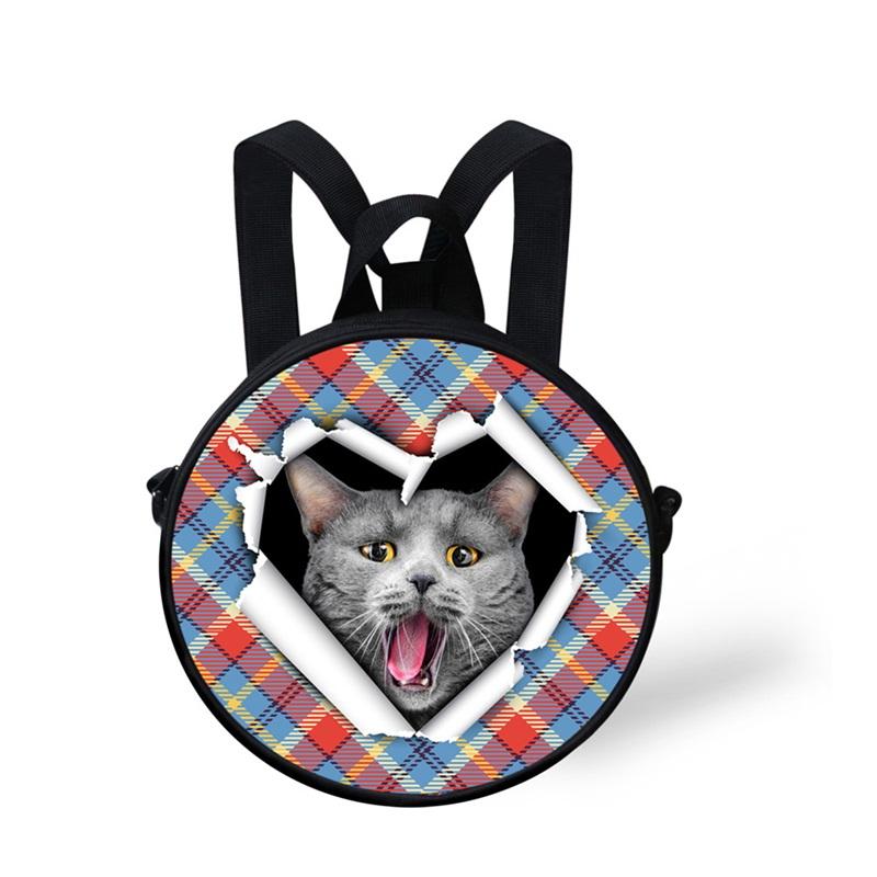 Cat Open Mouth Shock Pattern School Bag Shoulders Backpack