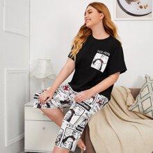 Grosse Grossen - Top mit Buchstaben, Figur Grafik & Shorts mit Pop Art Muster Schlafanzug Set