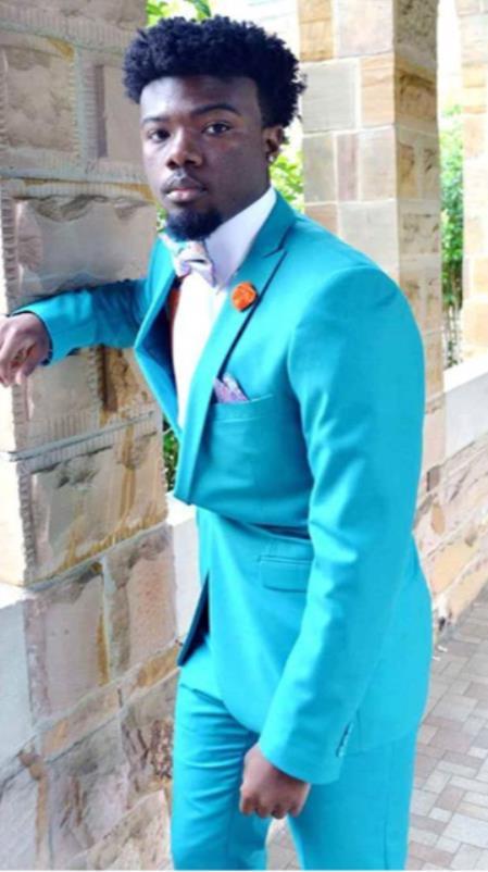 Mens Single Breasted Peak Lapel Blue Suit