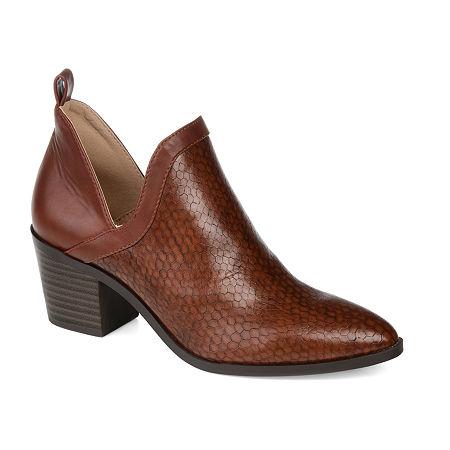 Journee Collection Womens Terri Stacked Heel Booties, 6 1/2 Medium, Brown