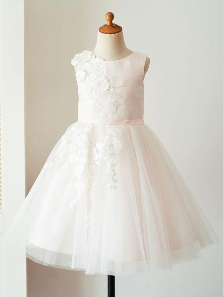 Milanoo Vestidos de niña de flores Cuello joya Tela de saten Sin mangas Hasta la rodilla Princesa Silueta Vestidos de desfile formales bordados para n