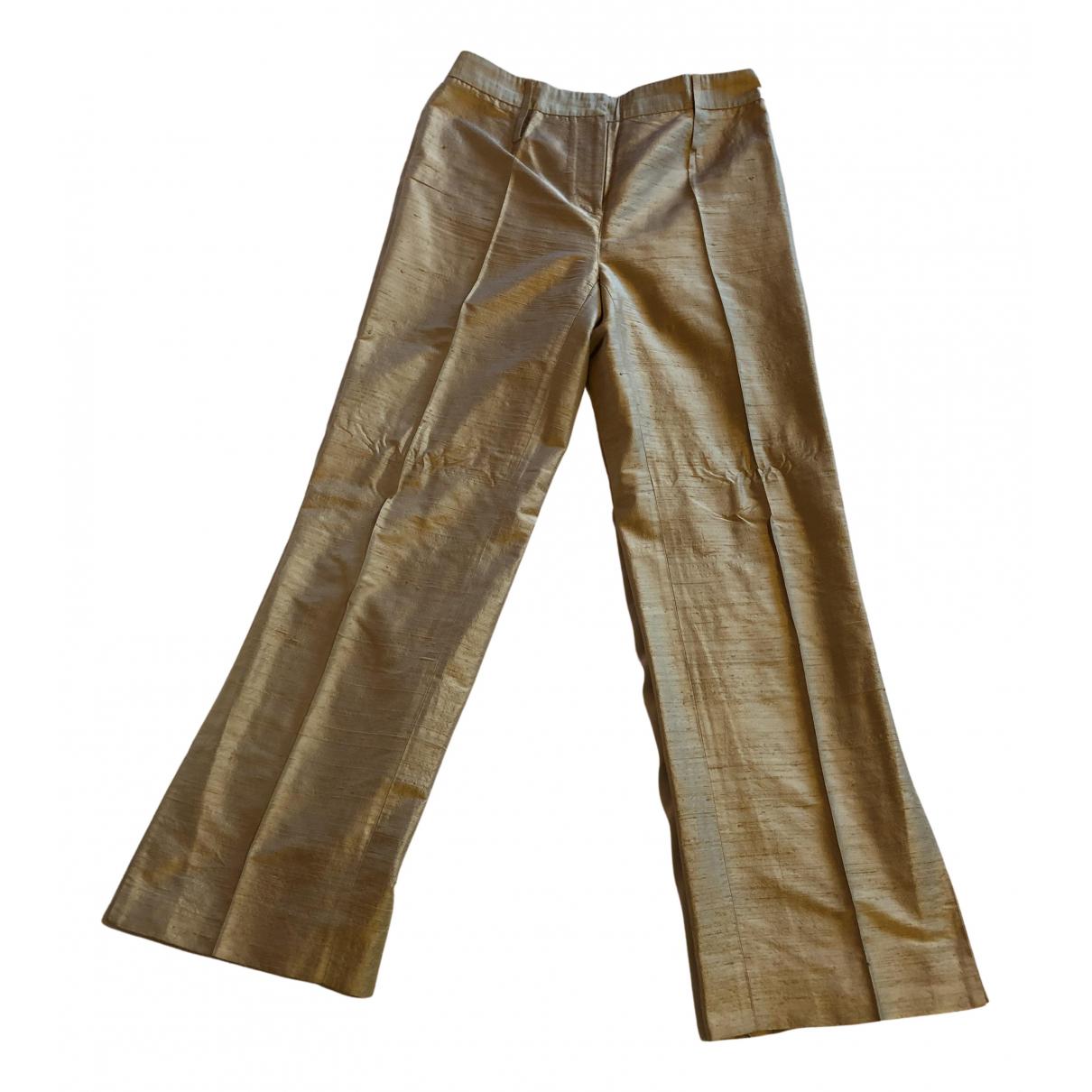 Dolce & Gabbana N Gold Silk Trousers for Women 42 IT