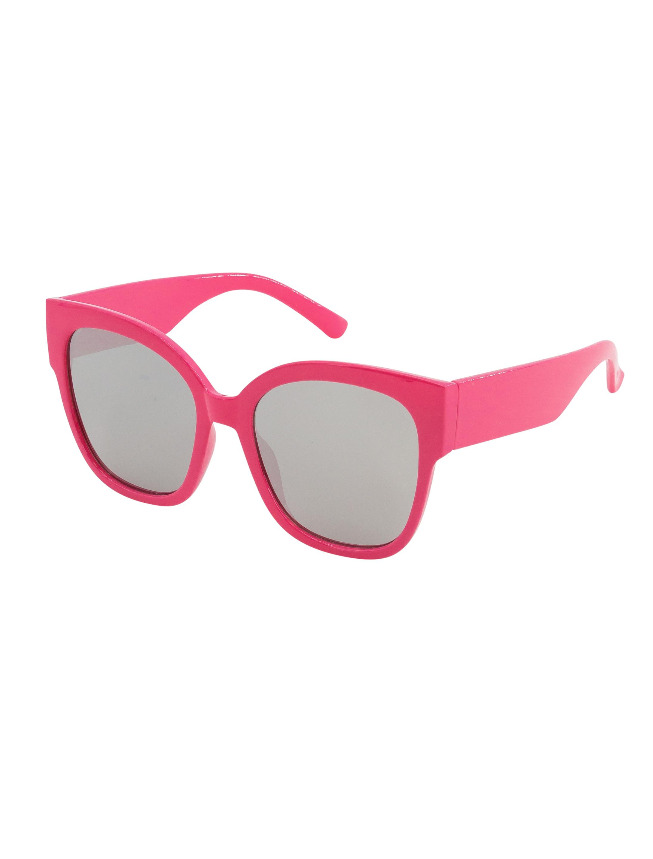 Kostuemzubehor Brille pink Glaeser weiss verspiegelt