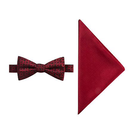 JF J.Ferrar Geometric Bow Tie Set, One Size , Red