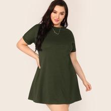 Plus Short Sleeve Solid Jersey Dress
