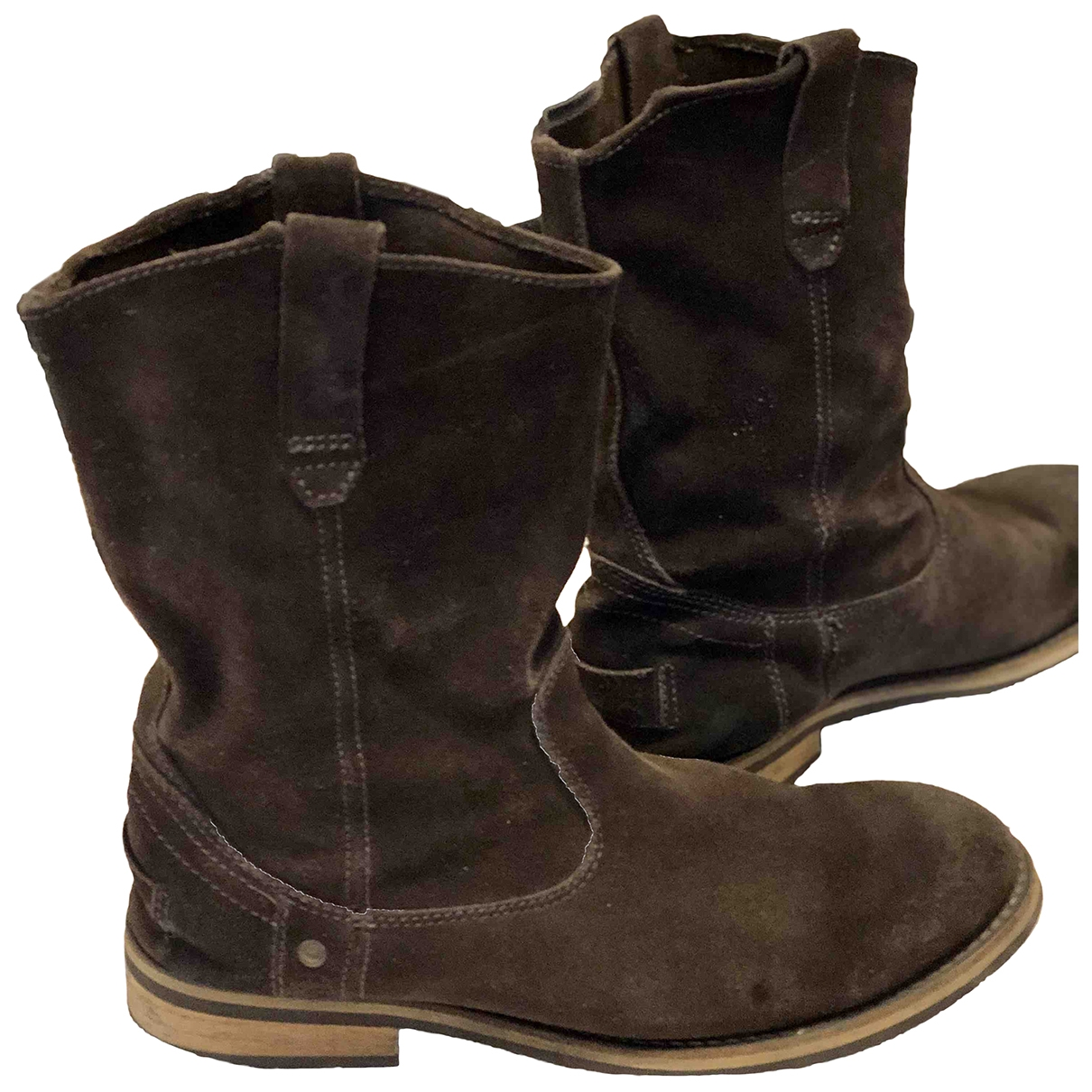 Non Signé / Unsigned \N Brown Suede Boots for Men 43 EU