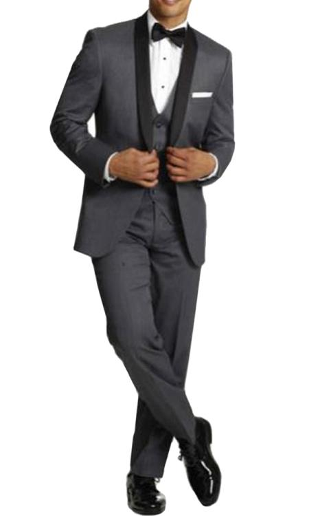 Mens One Button Tuxedo Shawl Black Lapel gray vested Suit