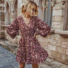 Floral Print Surplice Neck Ruffle Hem Dress