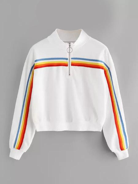 Yoins Plus Size White Stripe Front Zipper Sweatshirt