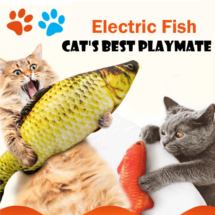 USB Charging Electronic Plush Cat Toys Imulation Fish Jumping Fish for Pet Interaction